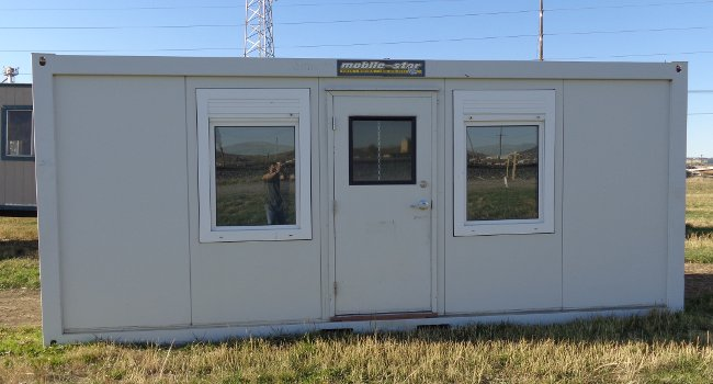 secure mobile office with windows and door